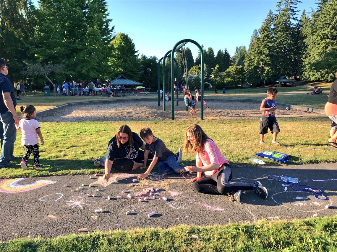 Family and kids playing at North Lynnwood Park