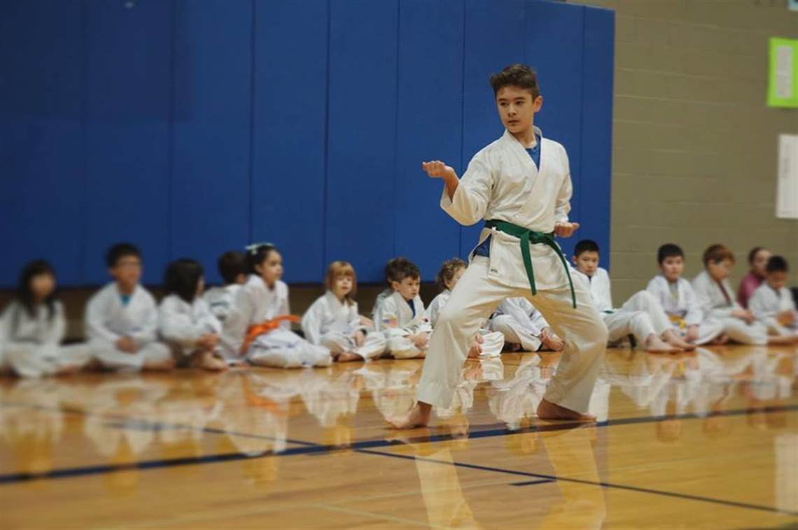 Boy practicing karate in front of class