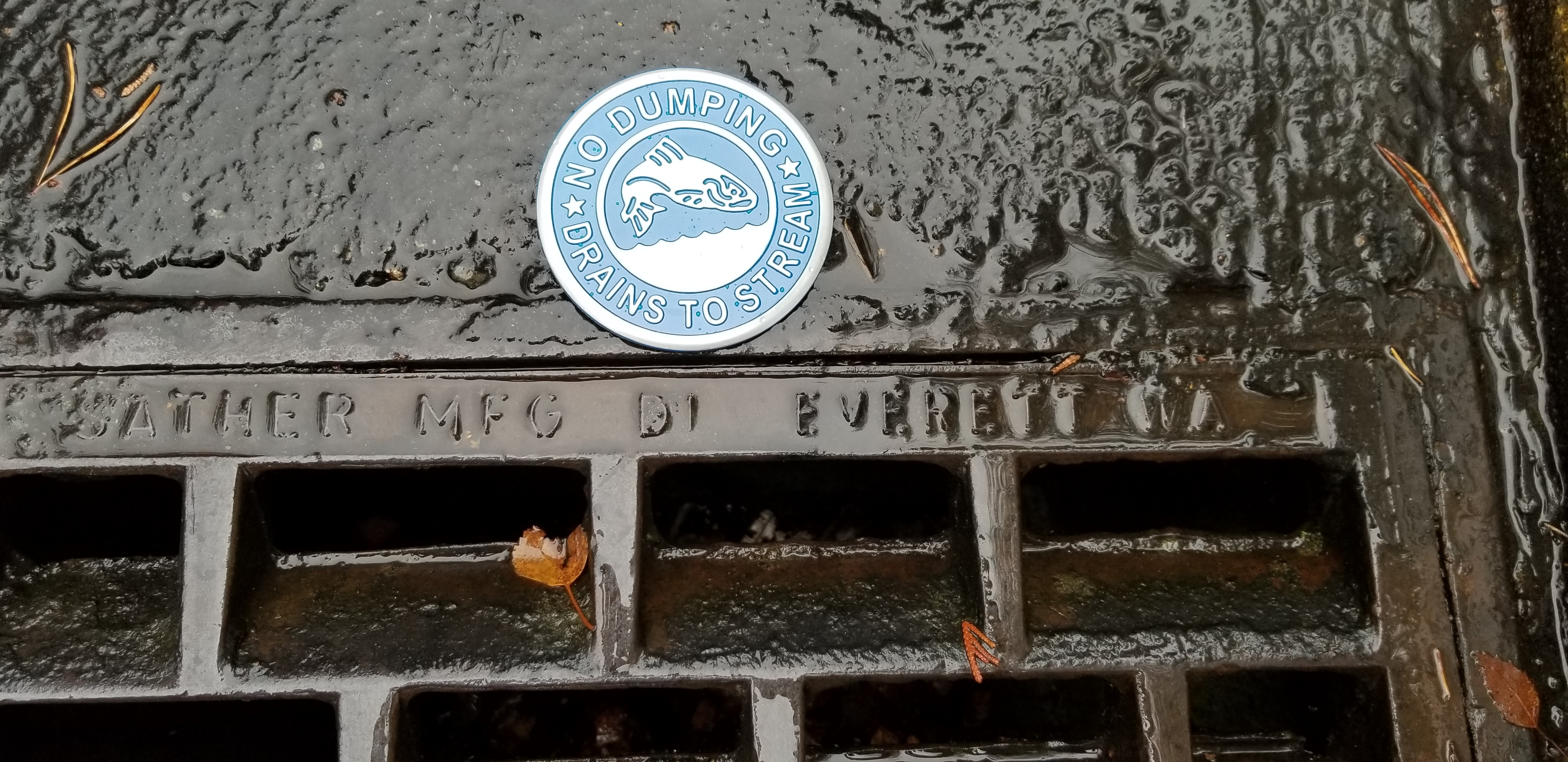 Photo of a storm drain maker that reads